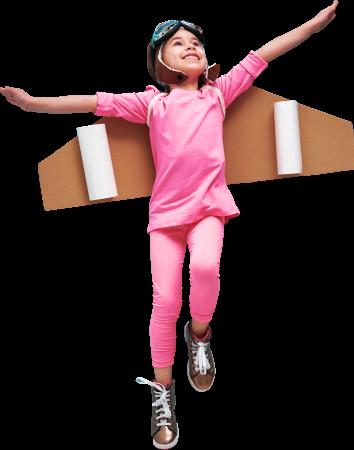 Little girl seems like flying