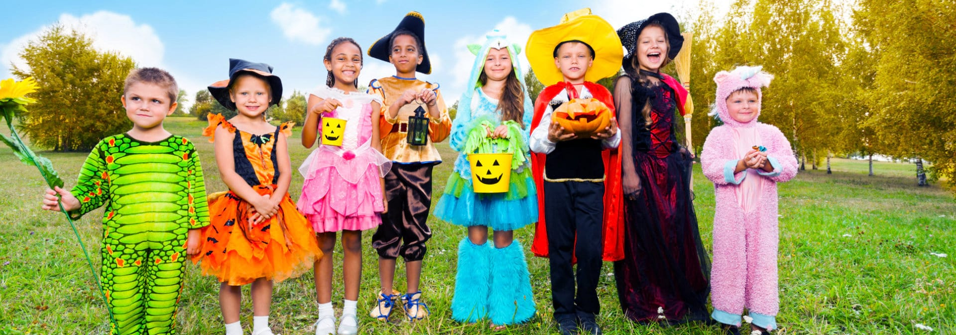 Group of children with their respective customes